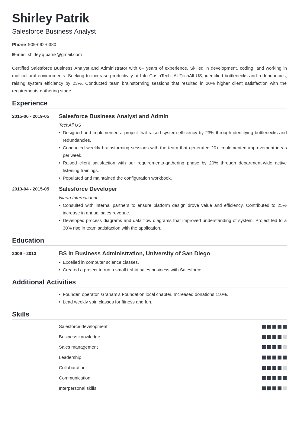 salesforce resume example template nanica