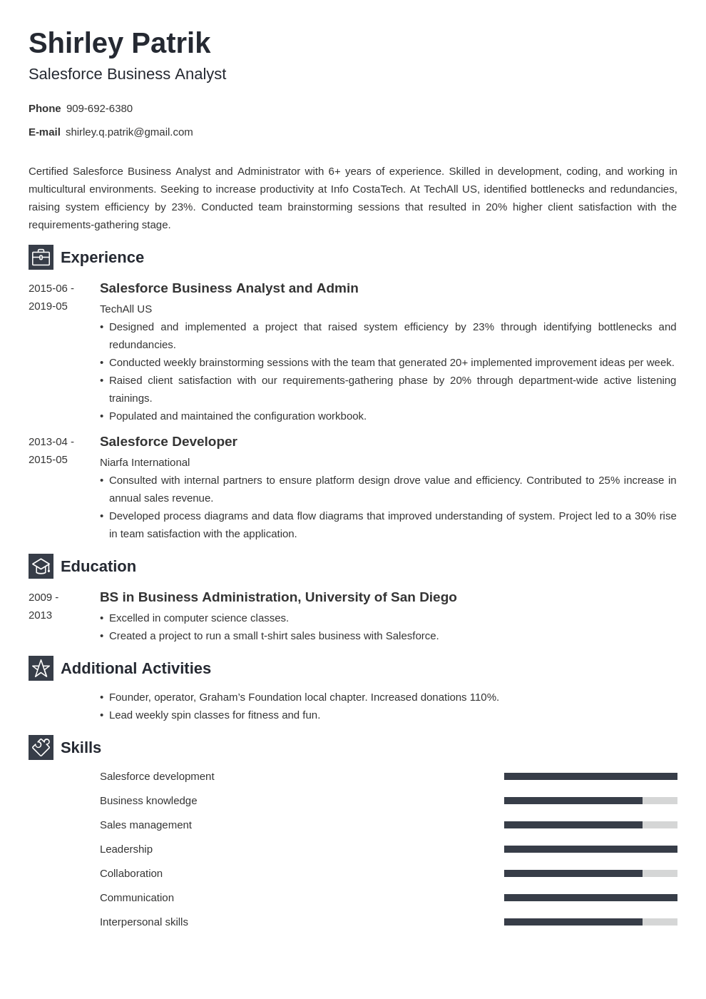 salesforce resume example template newcast