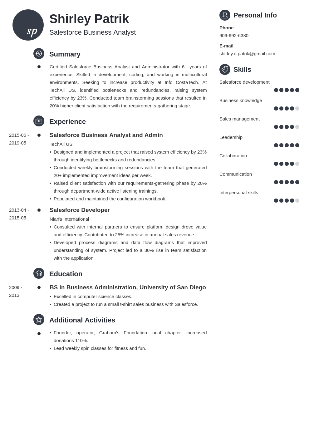salesforce resume example template primo