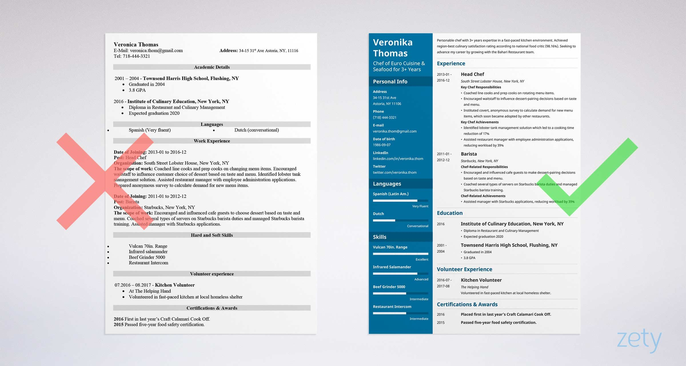 Great Chef Resume: Sample U0026 Complete Guide [20+ Examples]