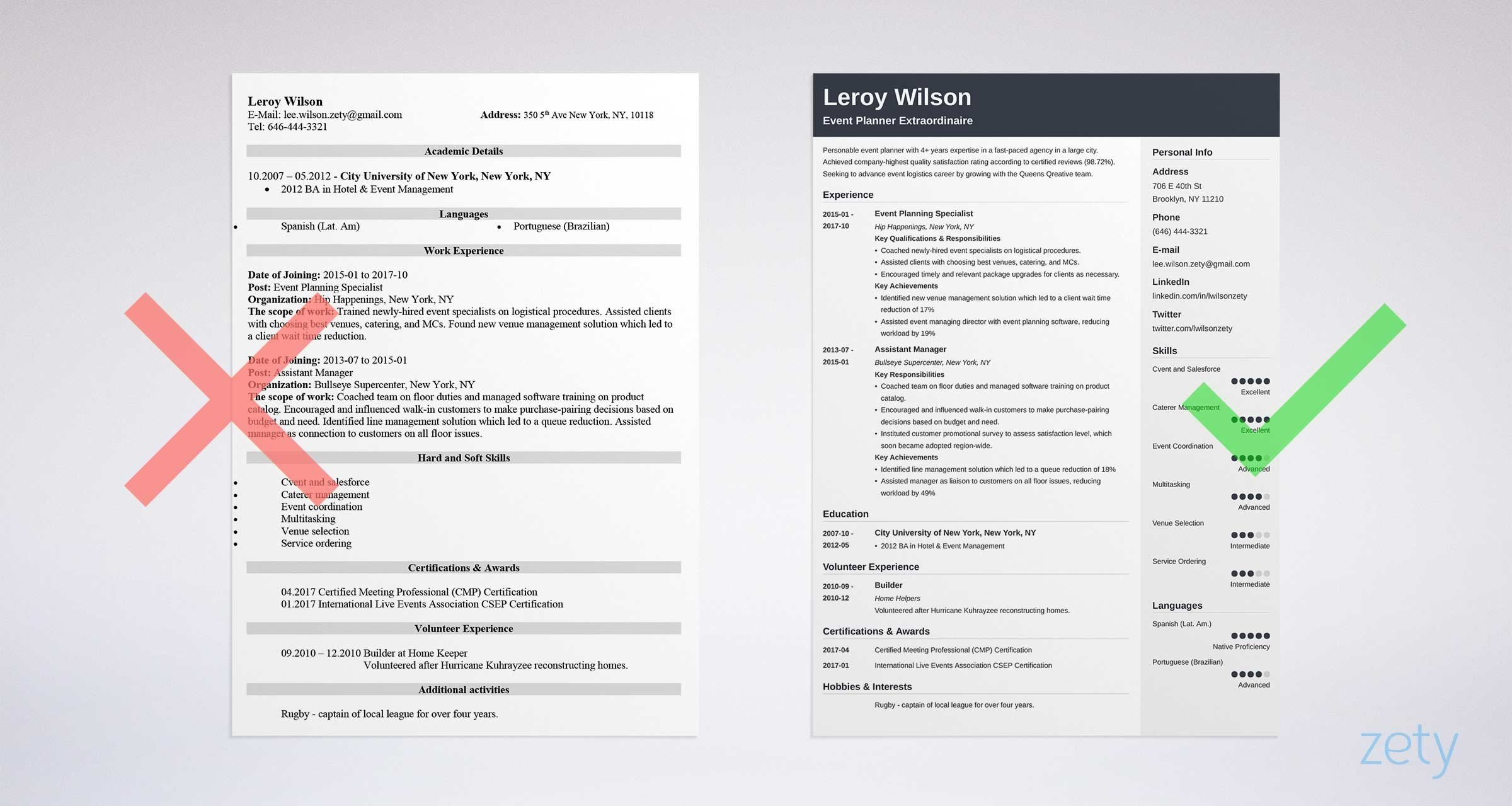 bad vs good event coordinator resume sample