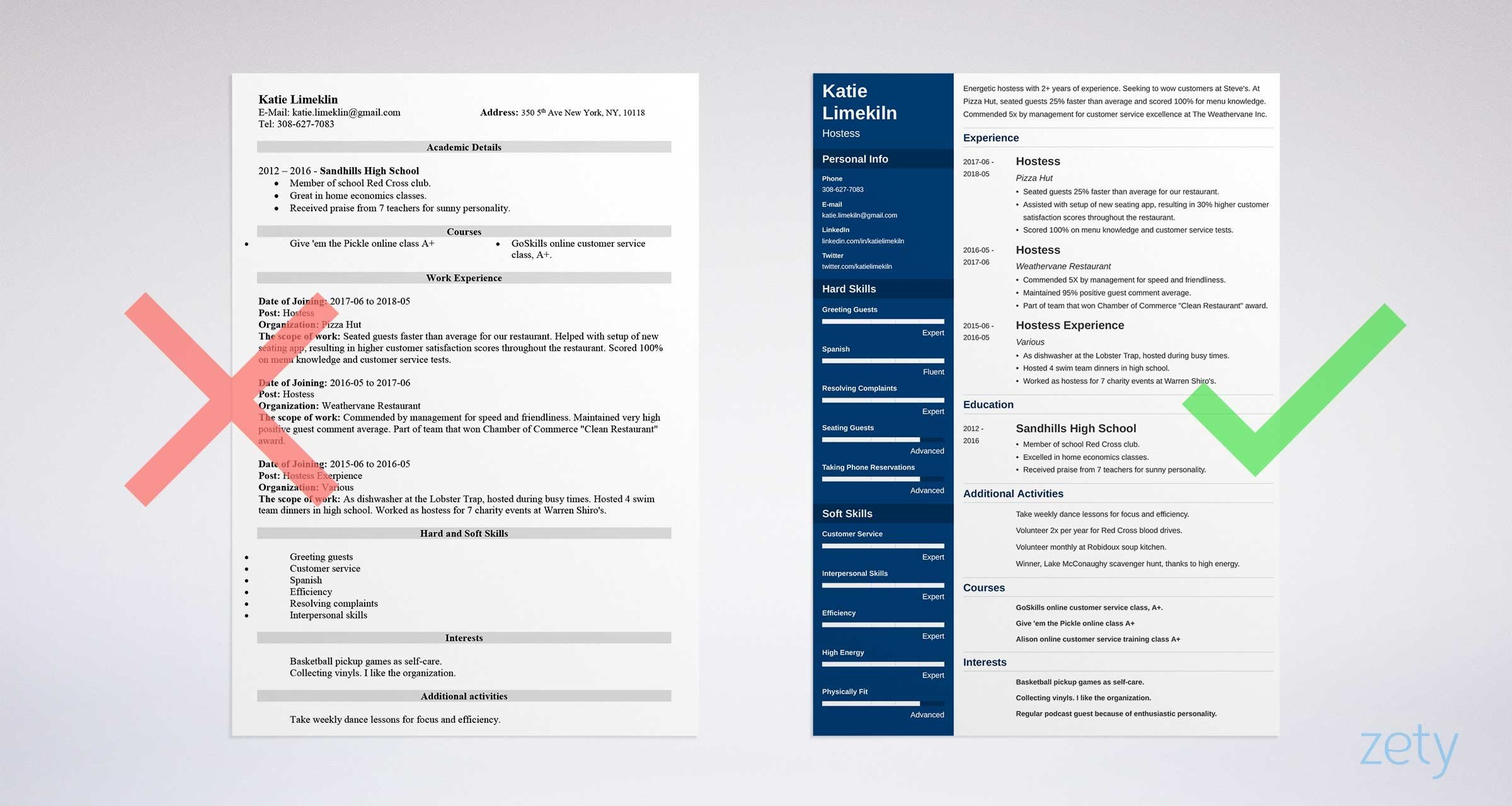hostess resume templates