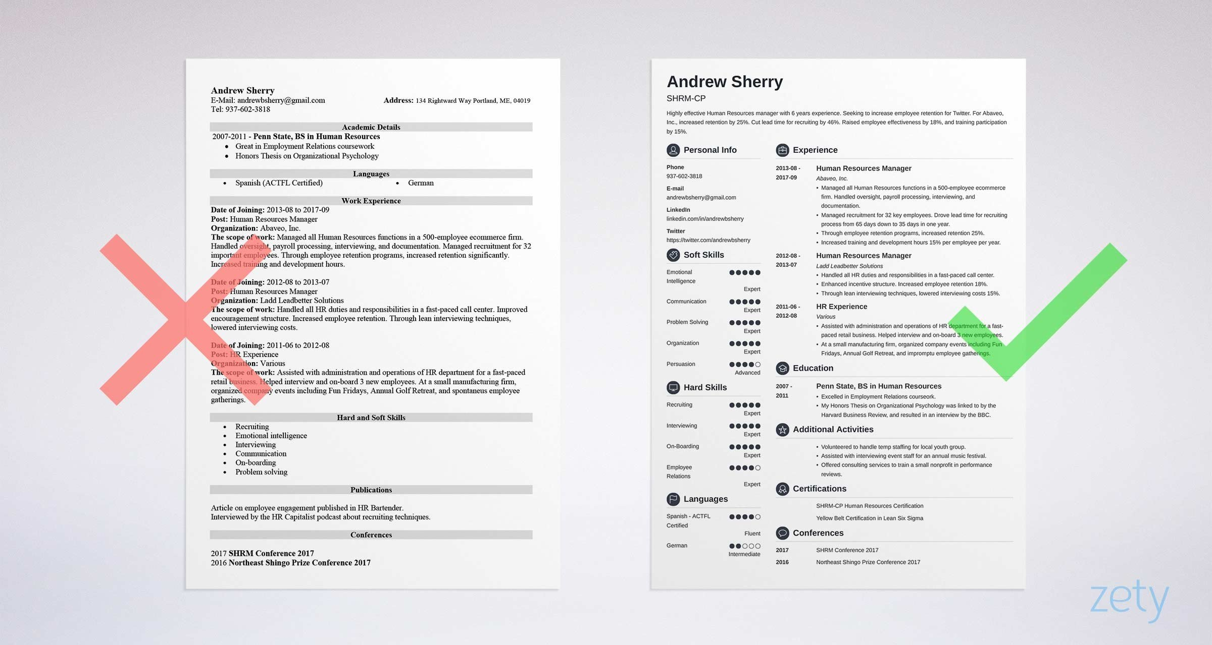 bad and good resume comparison