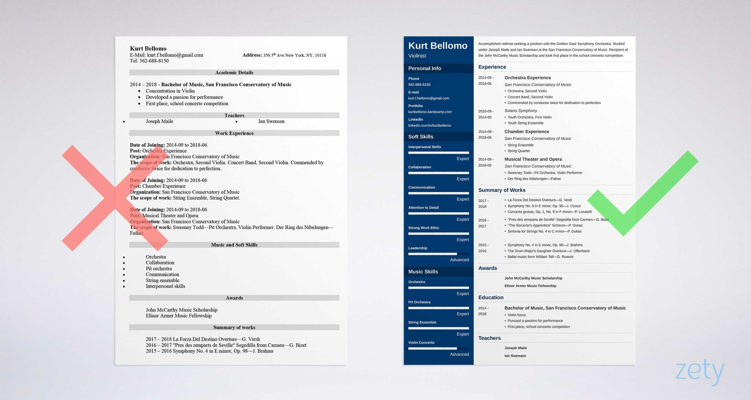 music resume templates