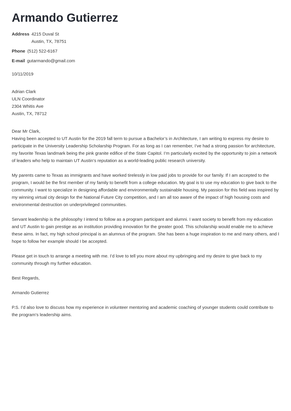 Cover Letter For Scholarship Application Template 20 Tips