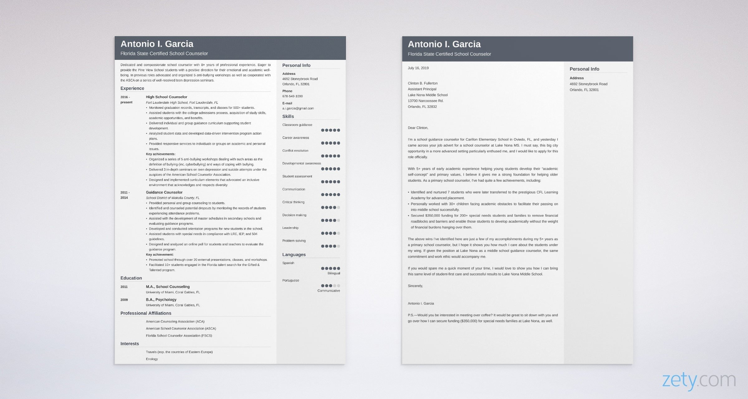 school counselor resume and cover letter set