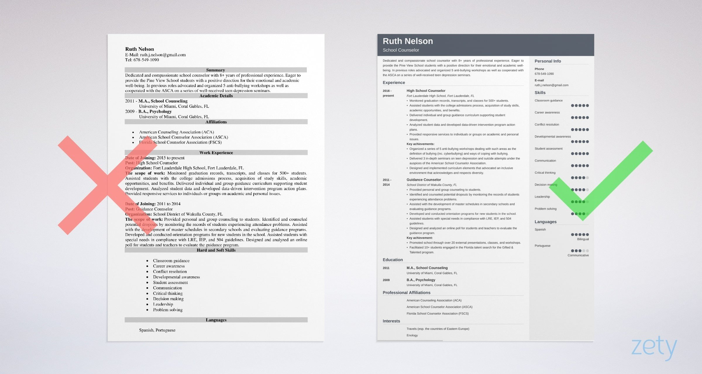 school counselor resume templates