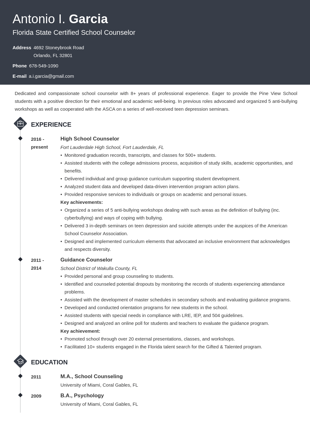 school counselor resume example template diamond
