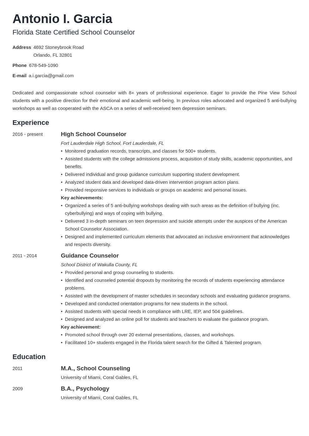 school counselor resume example template minimo