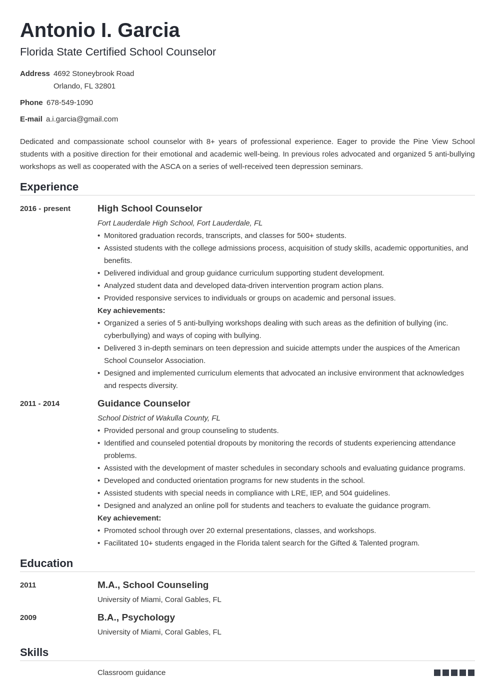 school counselor resume example template nanica