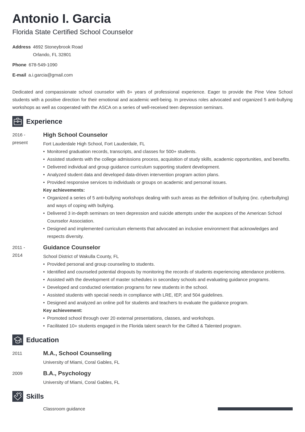 school counselor resume example template newcast