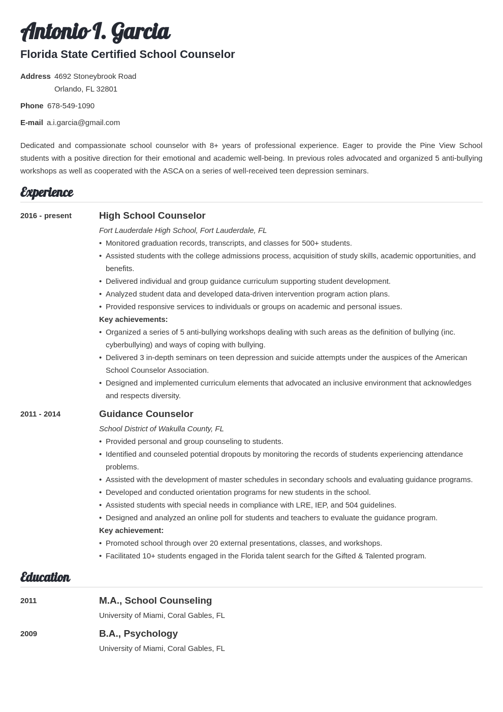 school counselor resume example template valera
