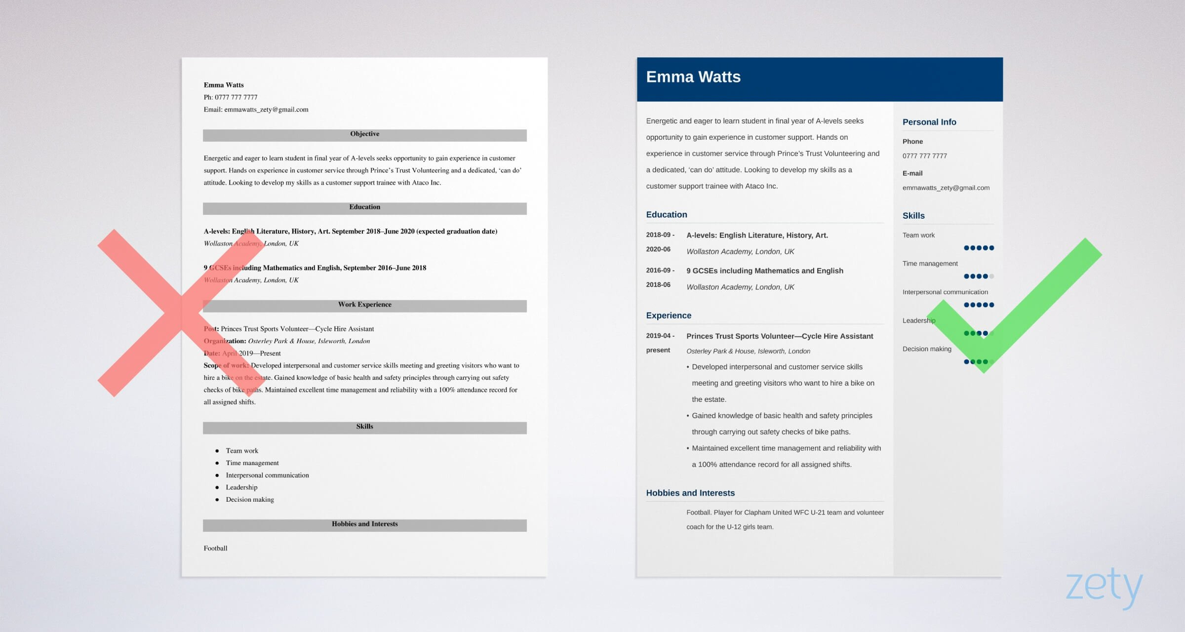 school-leaver cv templates