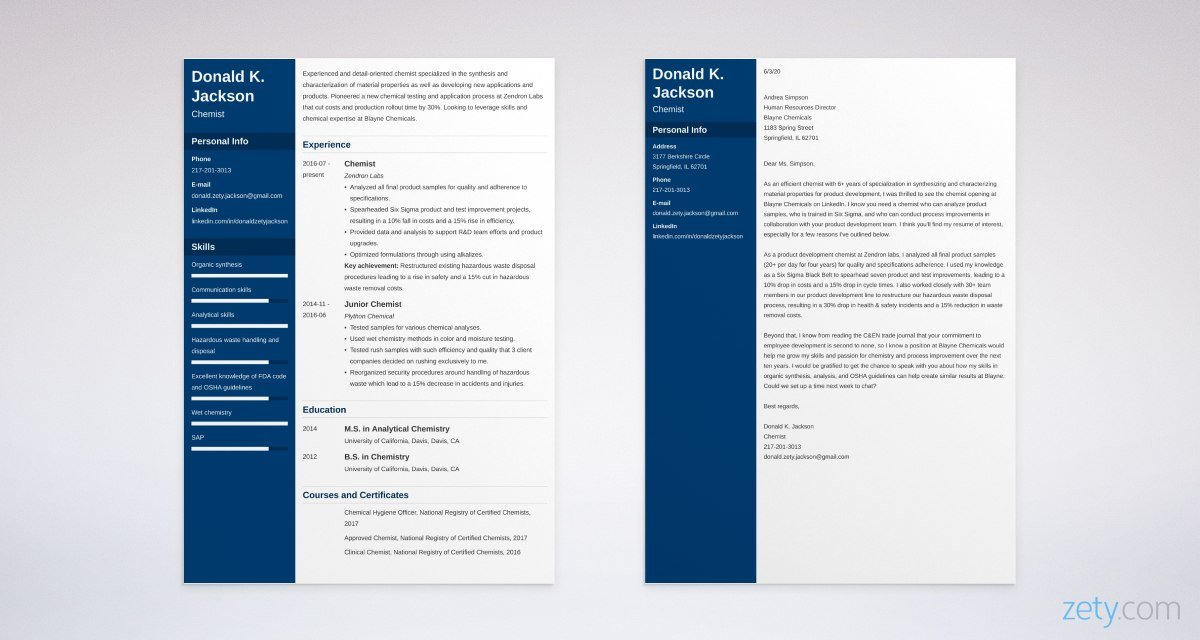 science resume and cover letter set
