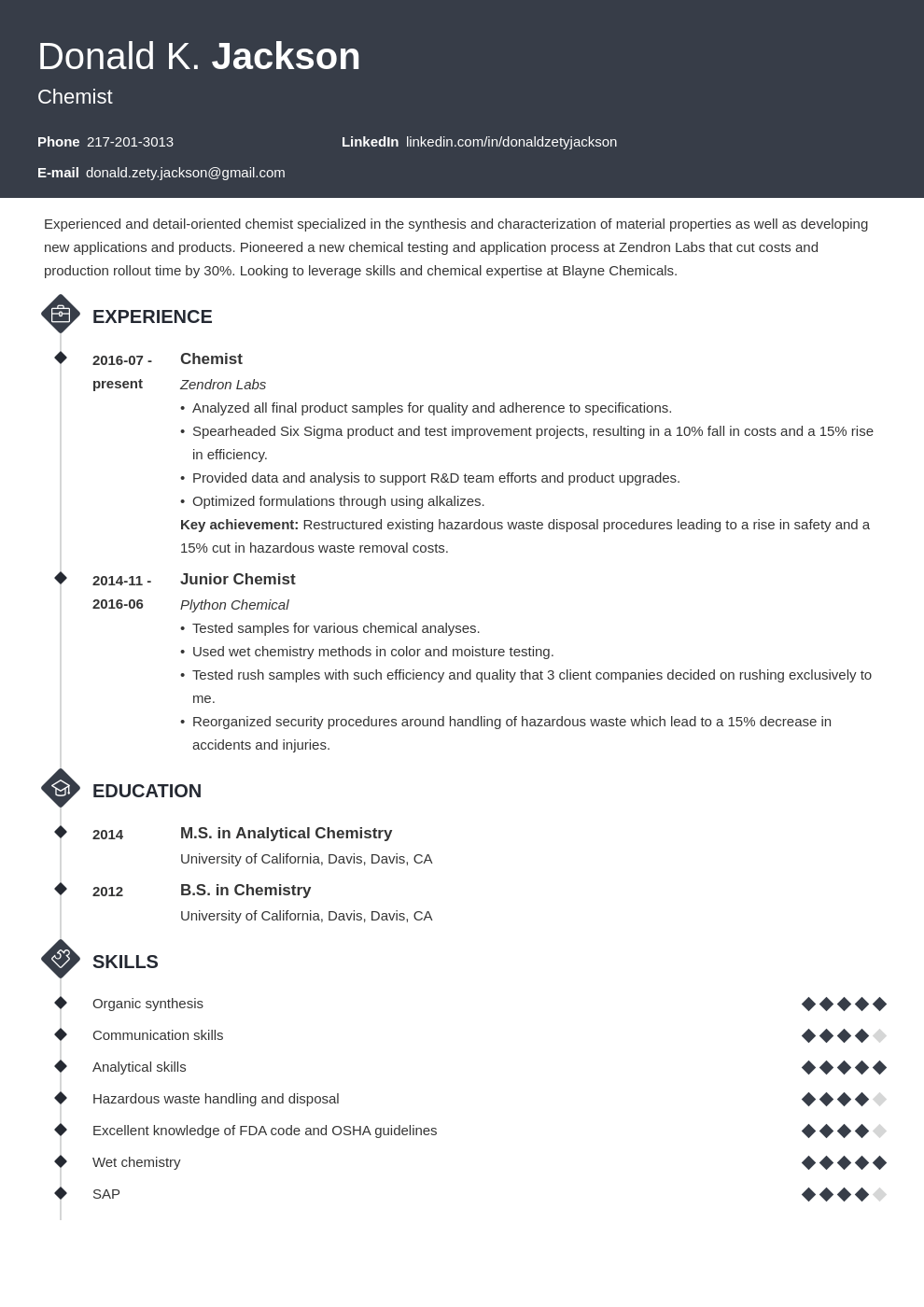 science resume example template diamond