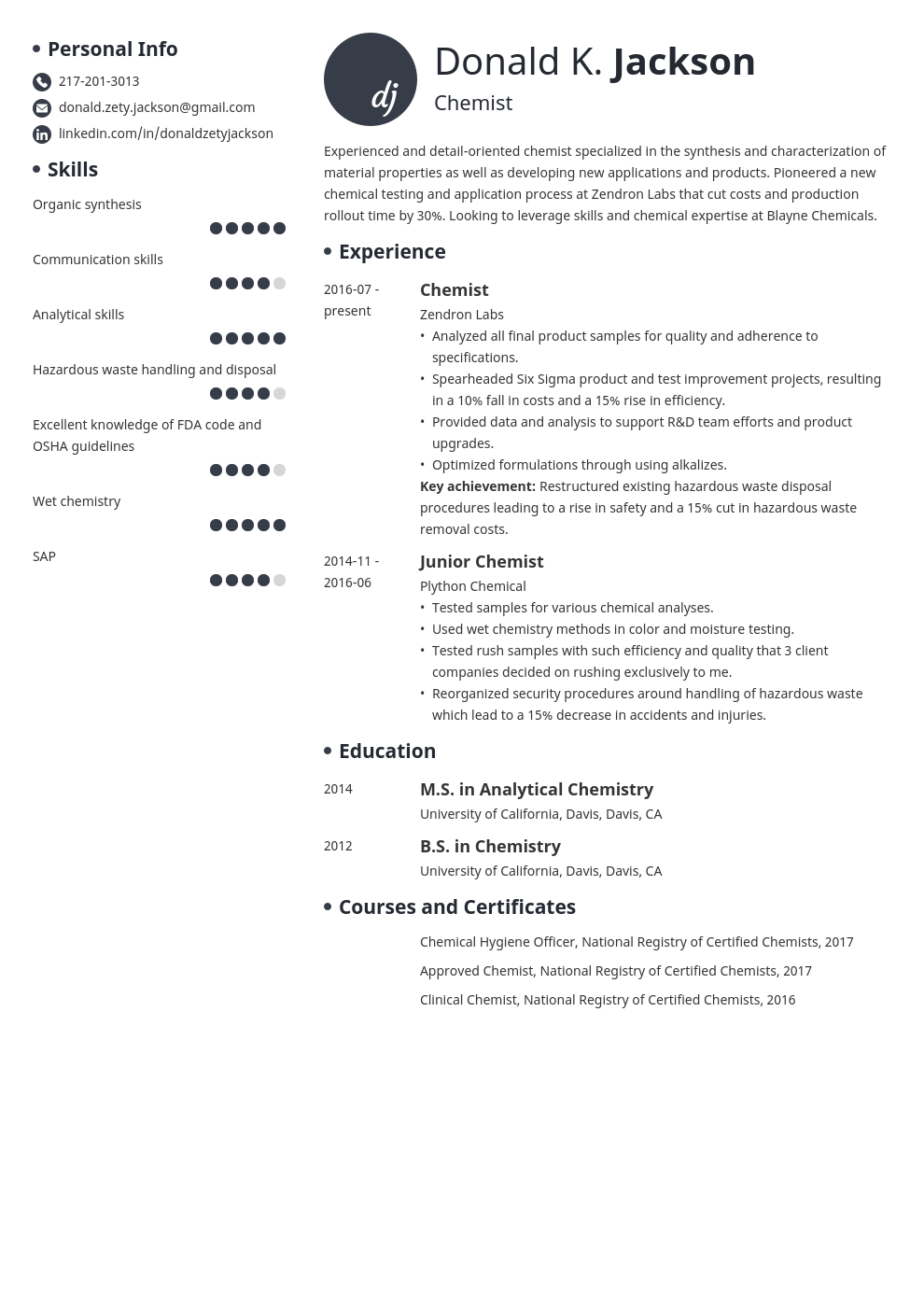 science resume example template initials
