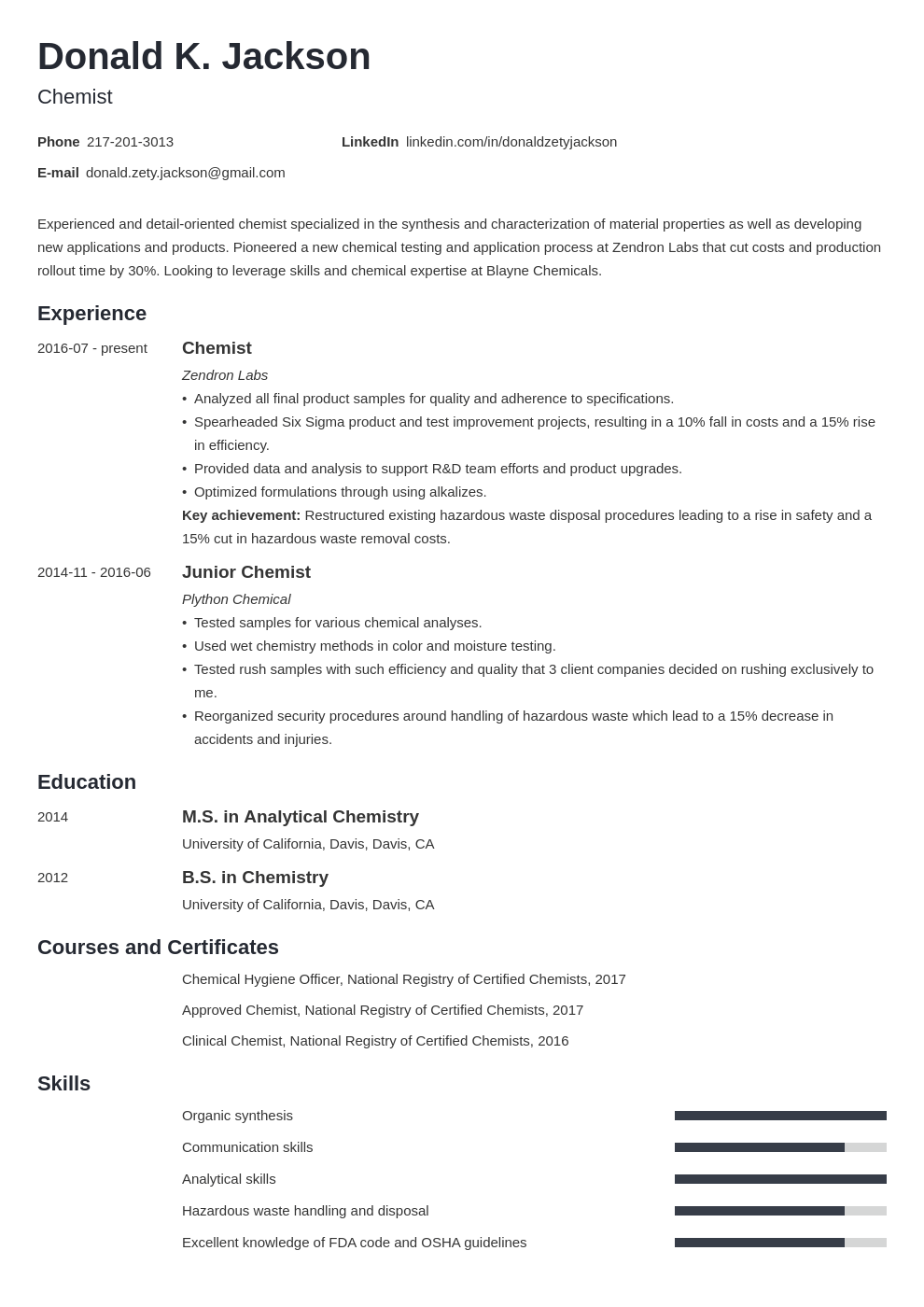 science resume example template minimo