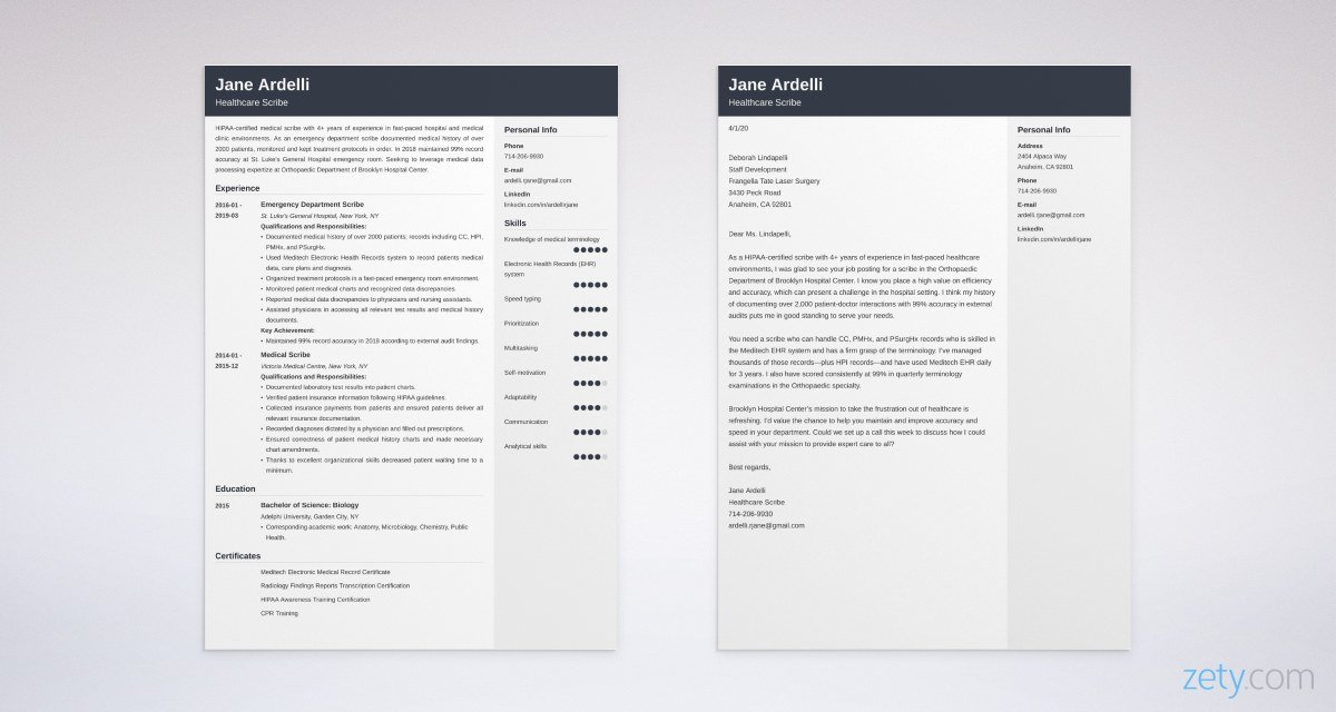scribe resume and cover letter set