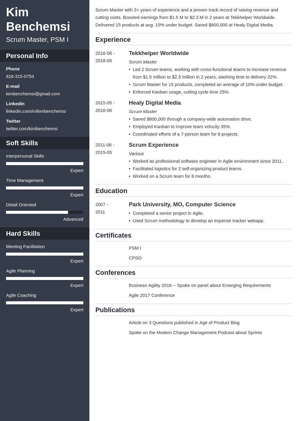scrum master resume example template cascade