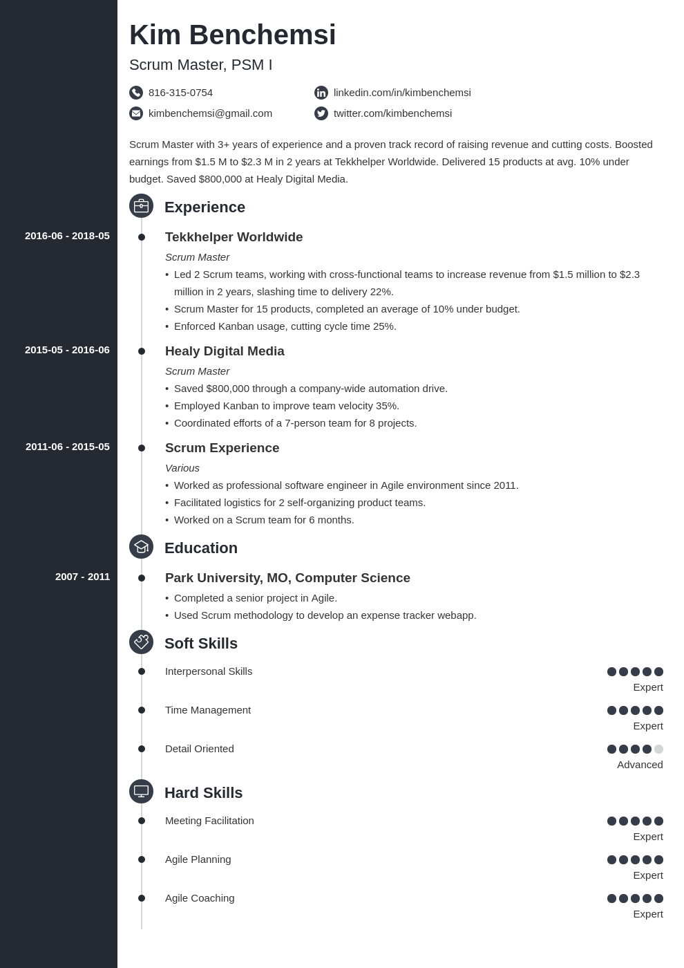 scrum master resume example template concept