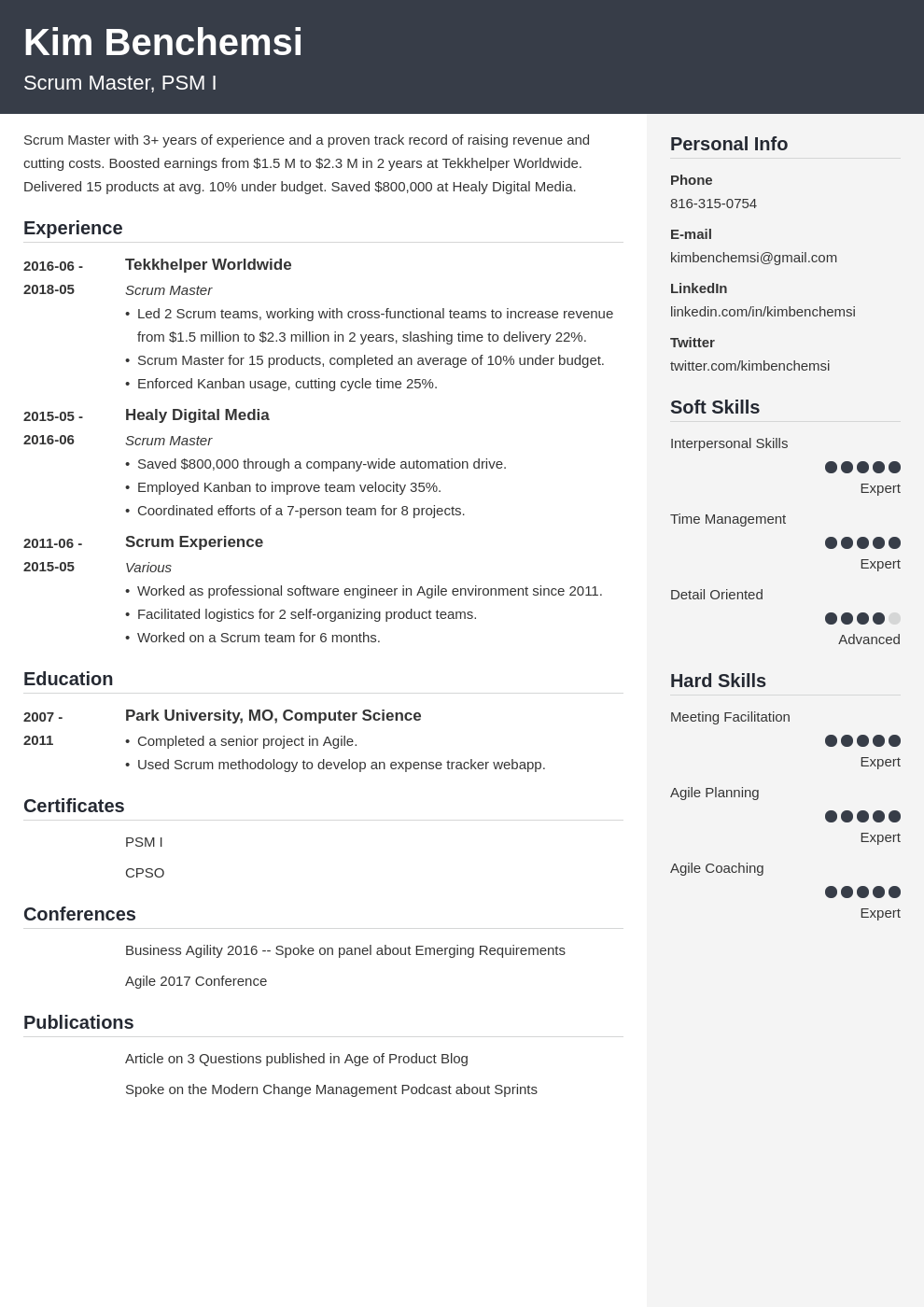 scrum master resume example template cubic