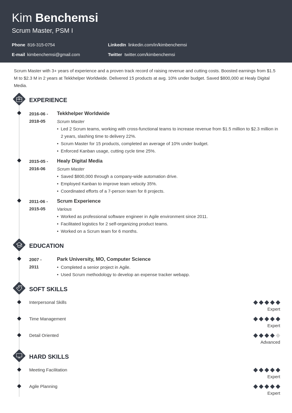 scrum master resume example template diamond