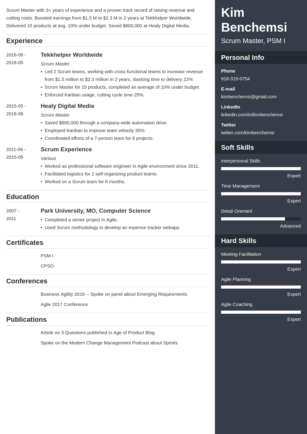 scrum master resume example template enfold
