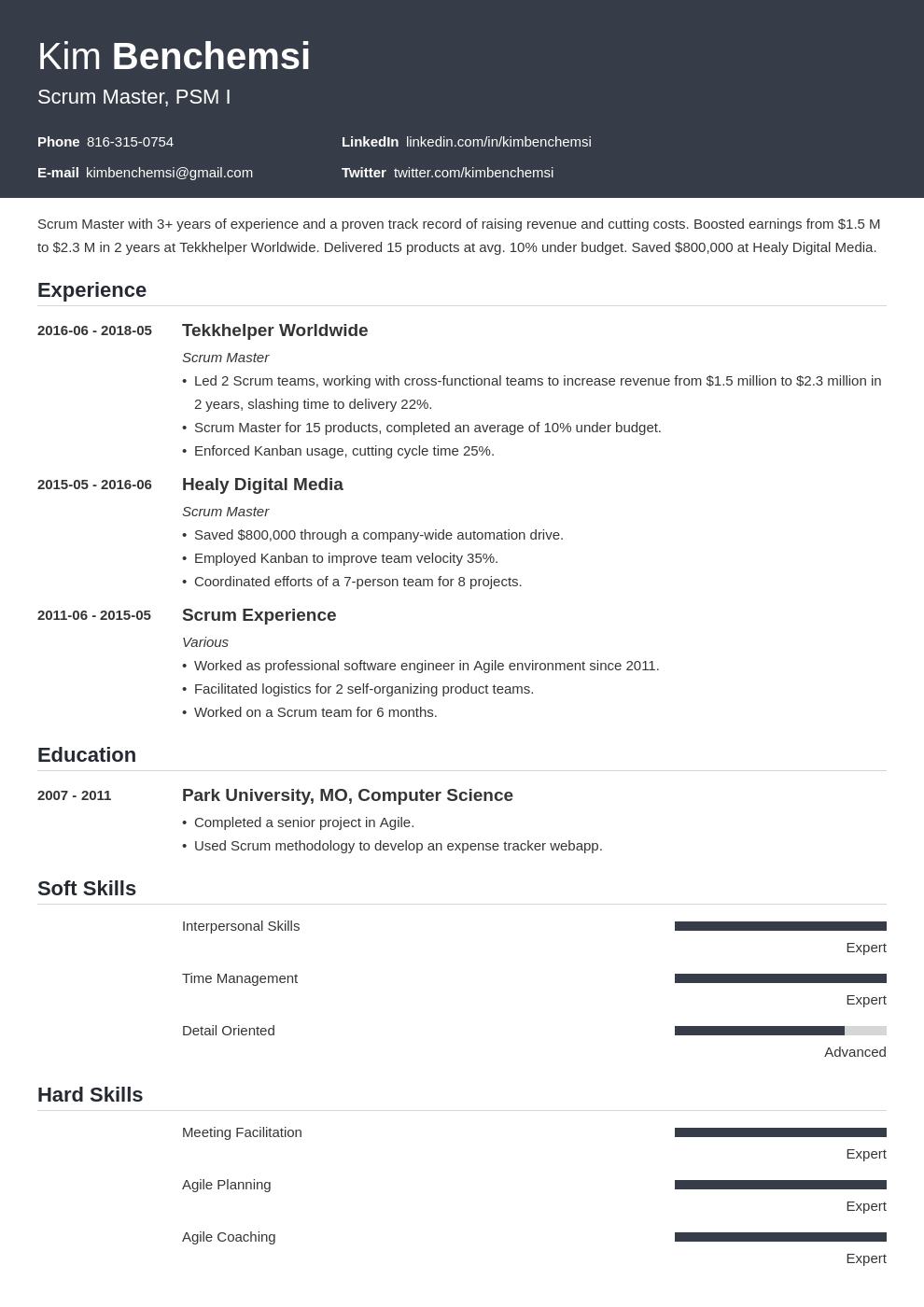 scrum master resume example template influx