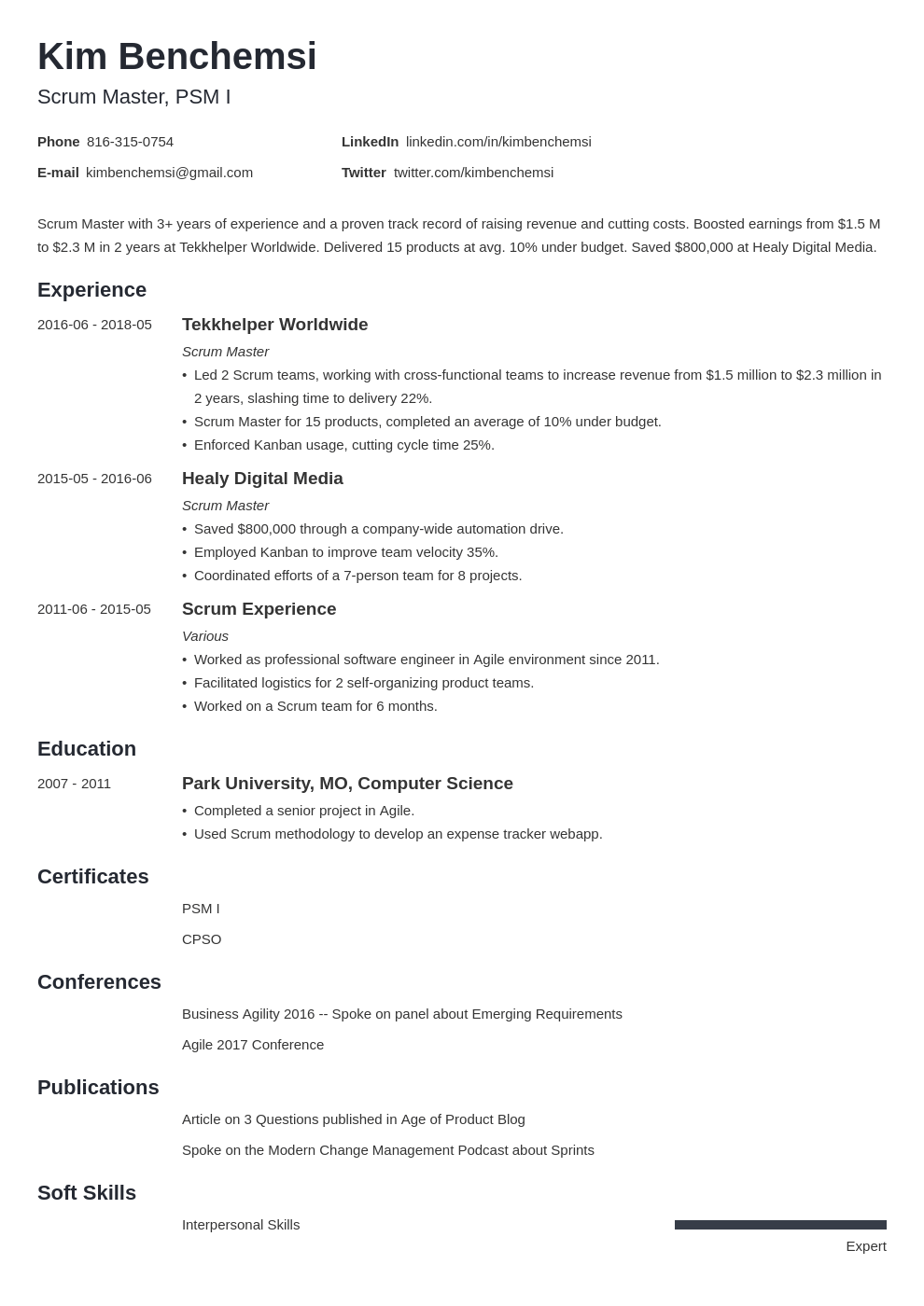 scrum master resume example template minimo