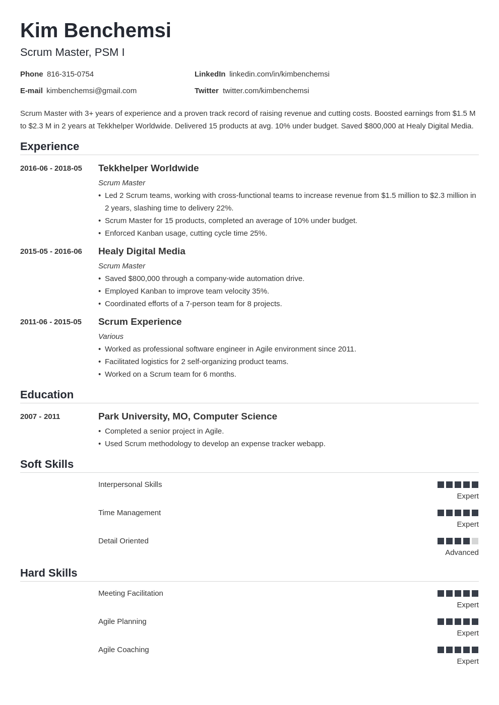 scrum master resume example template nanica