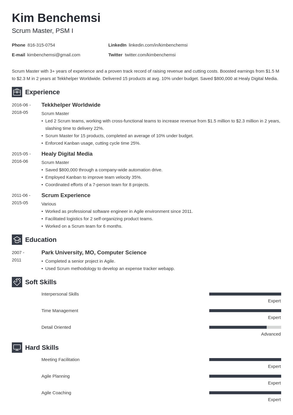 scrum master resume example template newcast