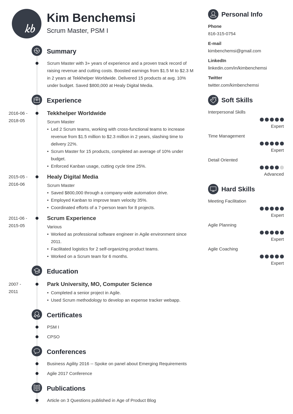 scrum master resume example template primo