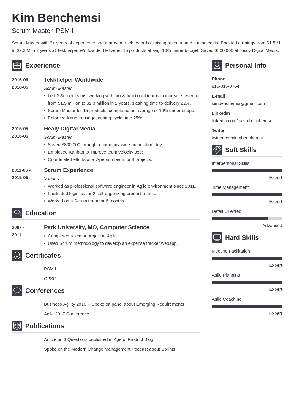 scrum master resume example template vibes