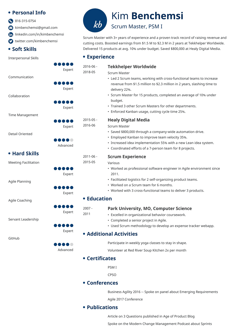 Scrum Master Resume Sample & Guide [+20 Examples]