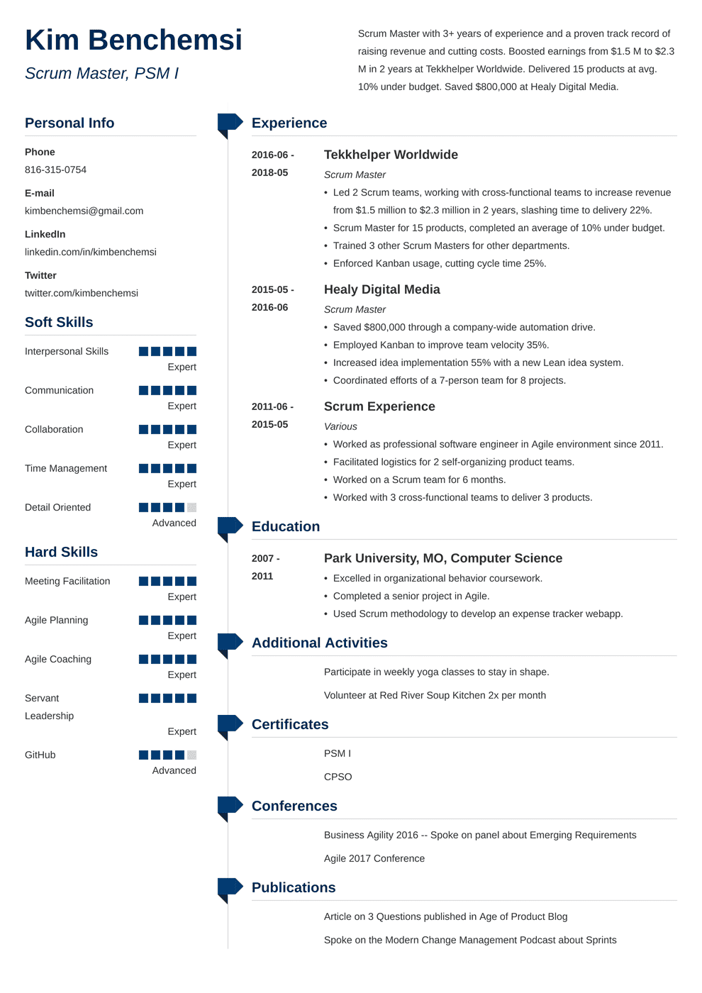 Scrum Master Resume: Samples and Full Writing Guide [+20 ...