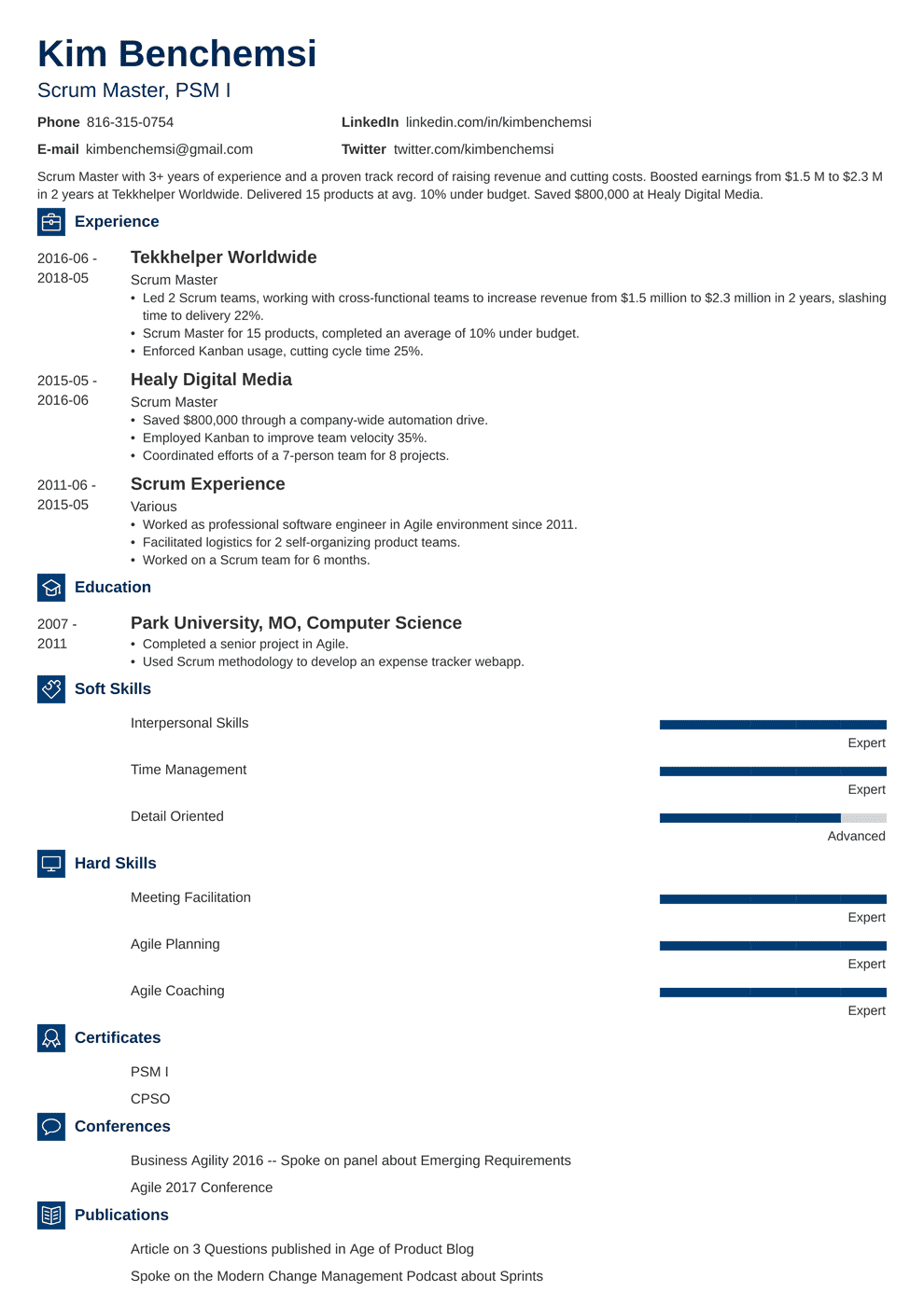 Scrum Master Sample Resume Mryn Ism