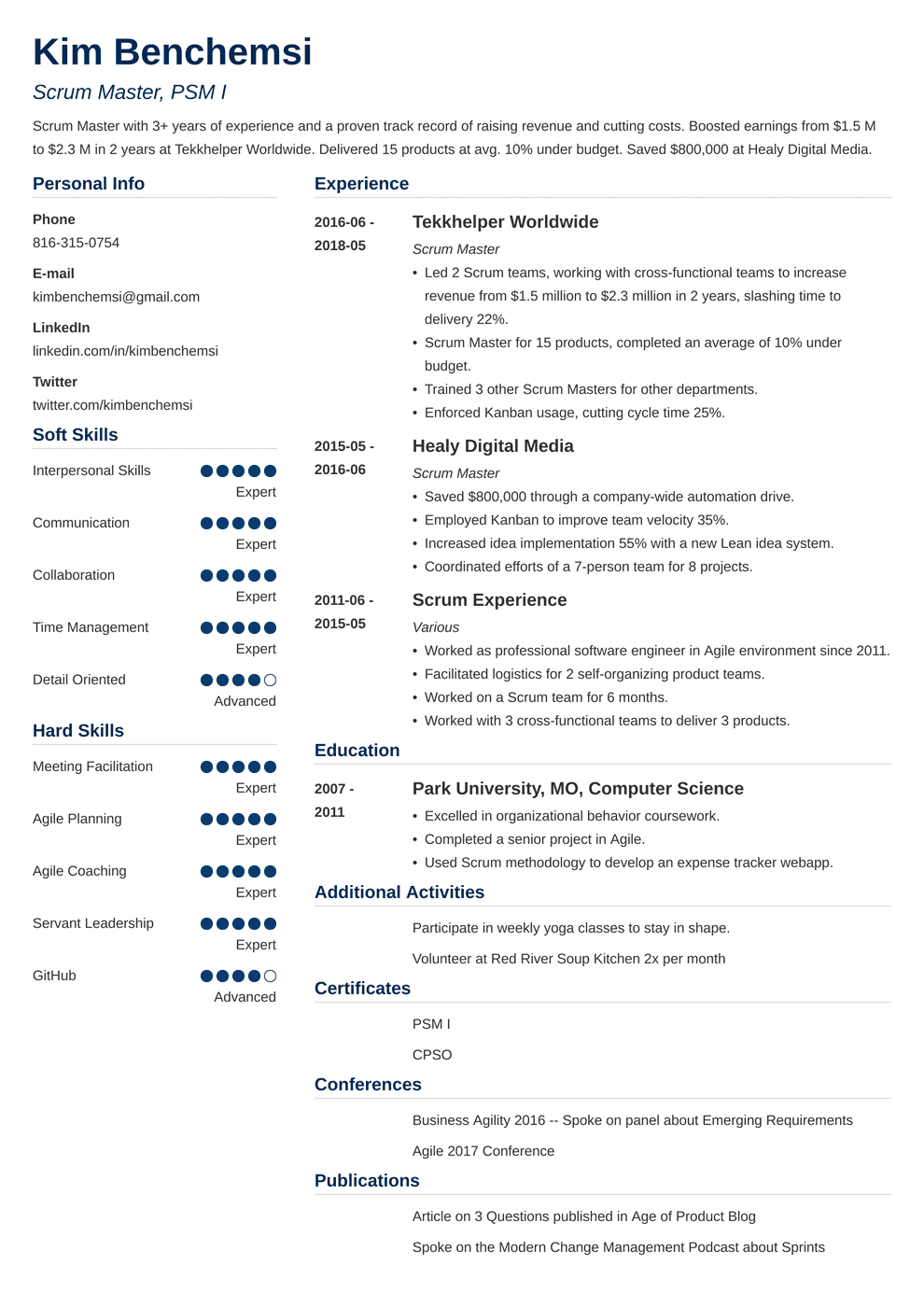 Scrum Master Resume Samples And Full Writing Guide 20 Examples
