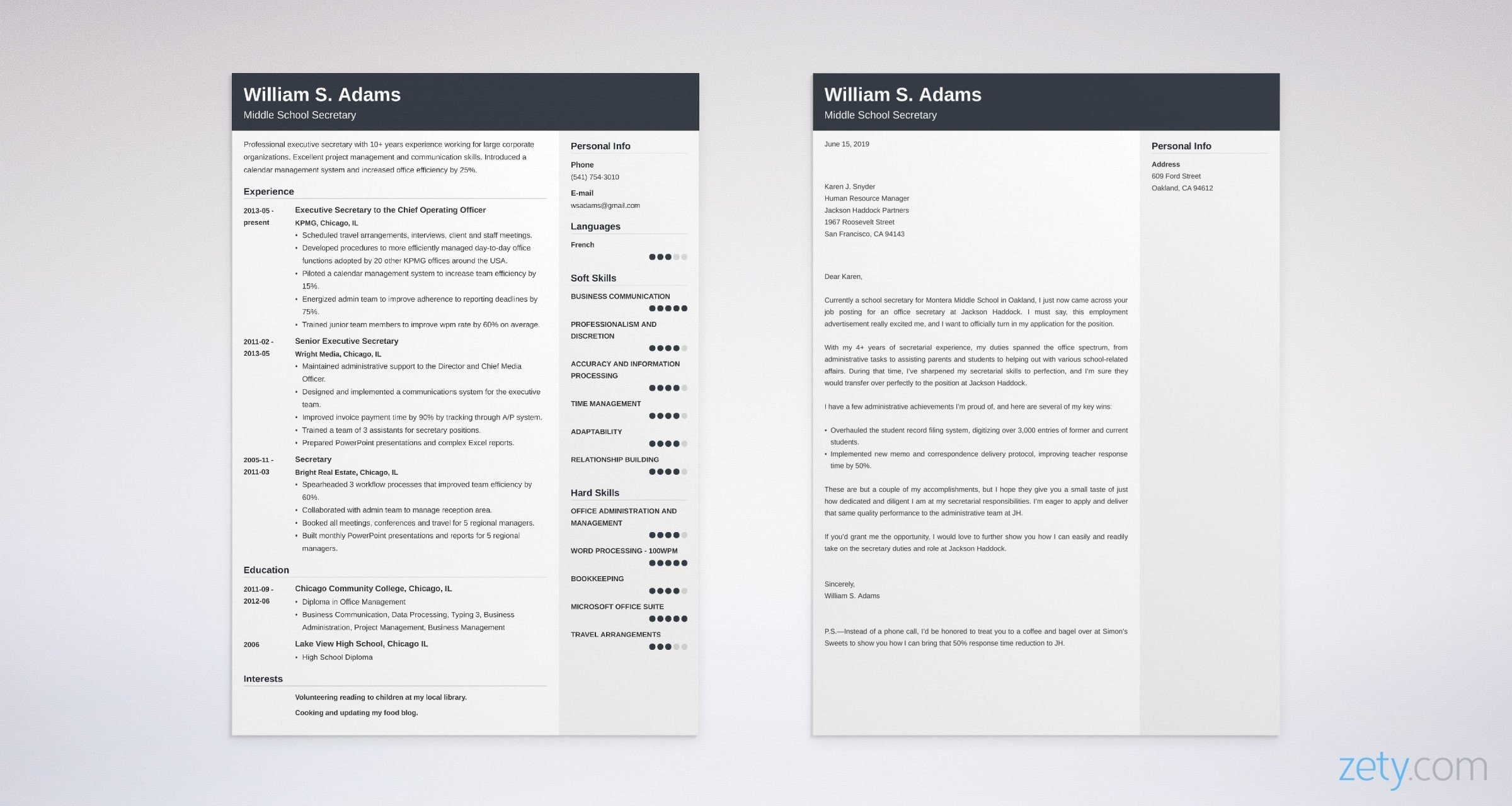secretary resume and cover letter set