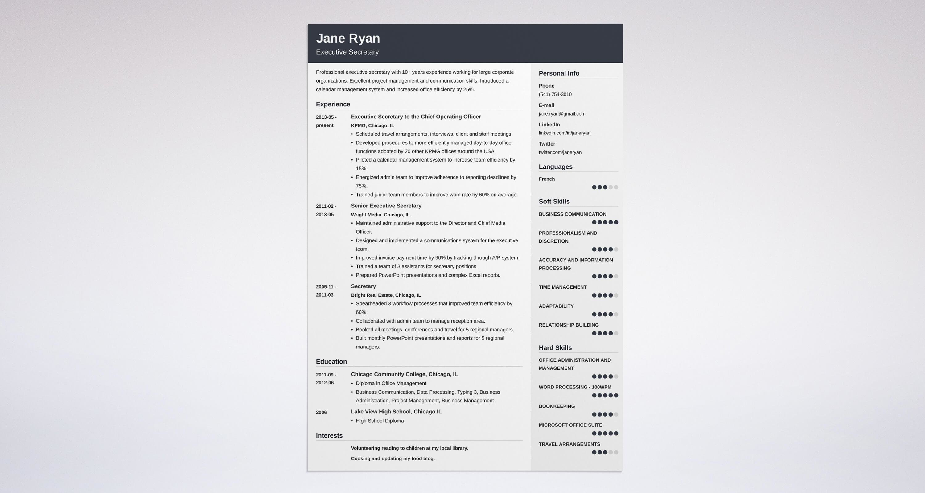 Uptowork  Sample Resume For Secretary