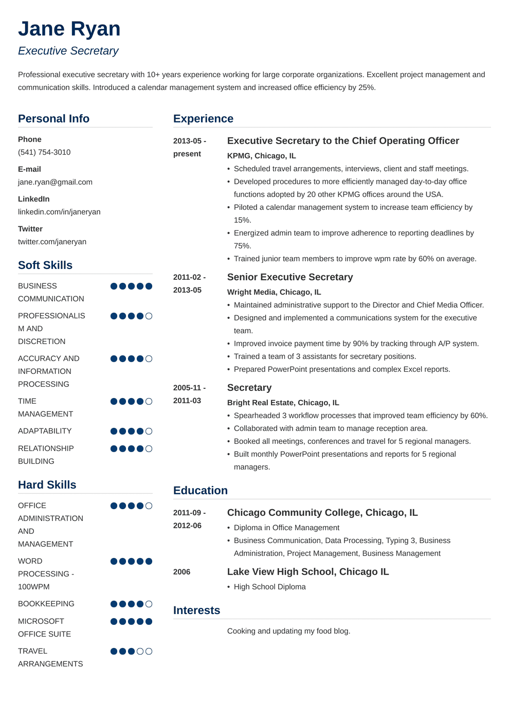 Secretary Resume Sample Complete Guide 20 Examples