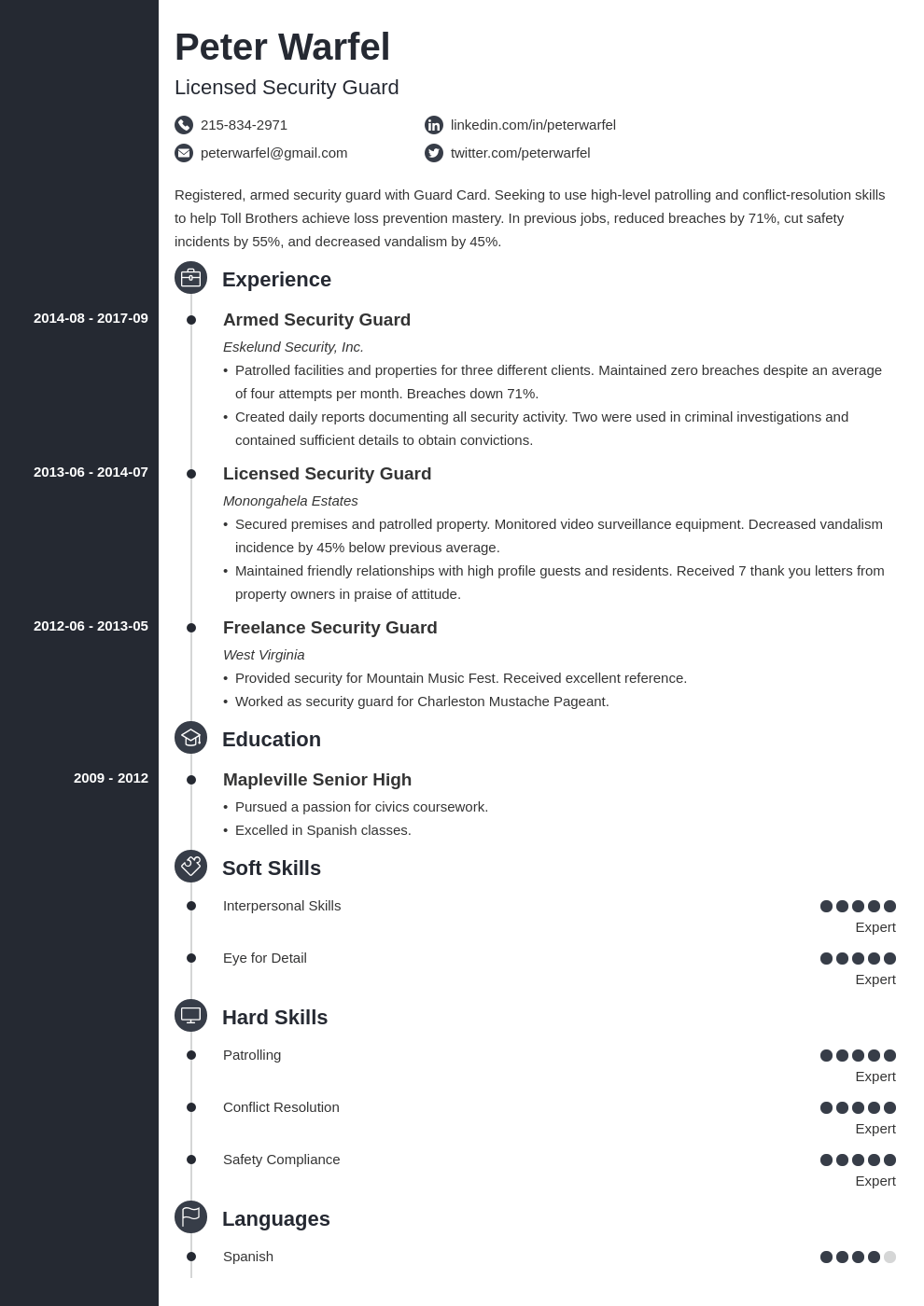 security guard resume example template concept