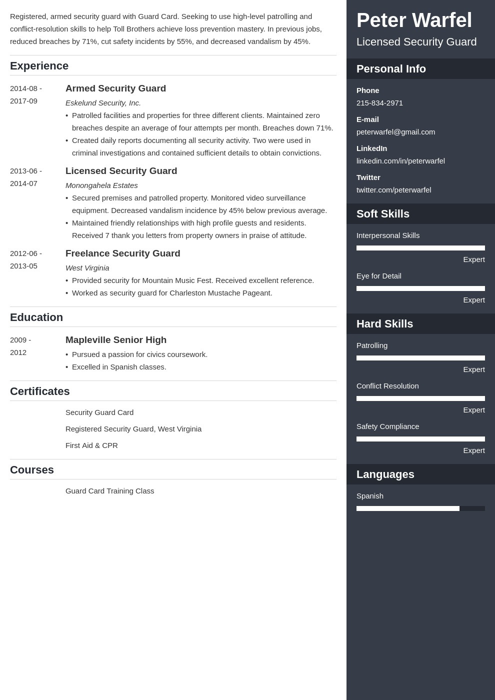 security guard resume example template enfold