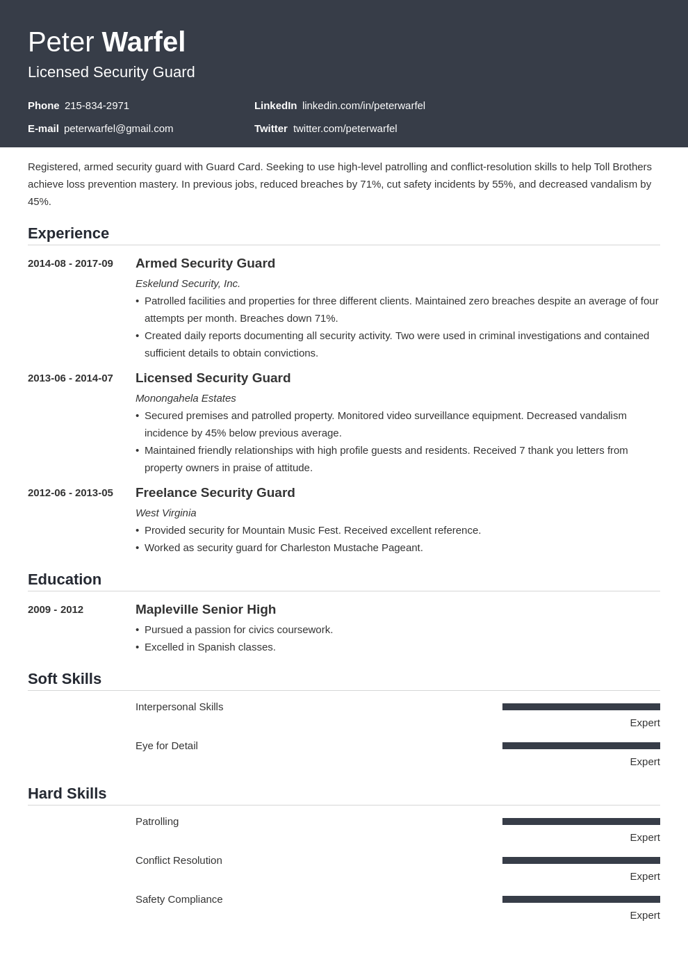security guard resume example template influx
