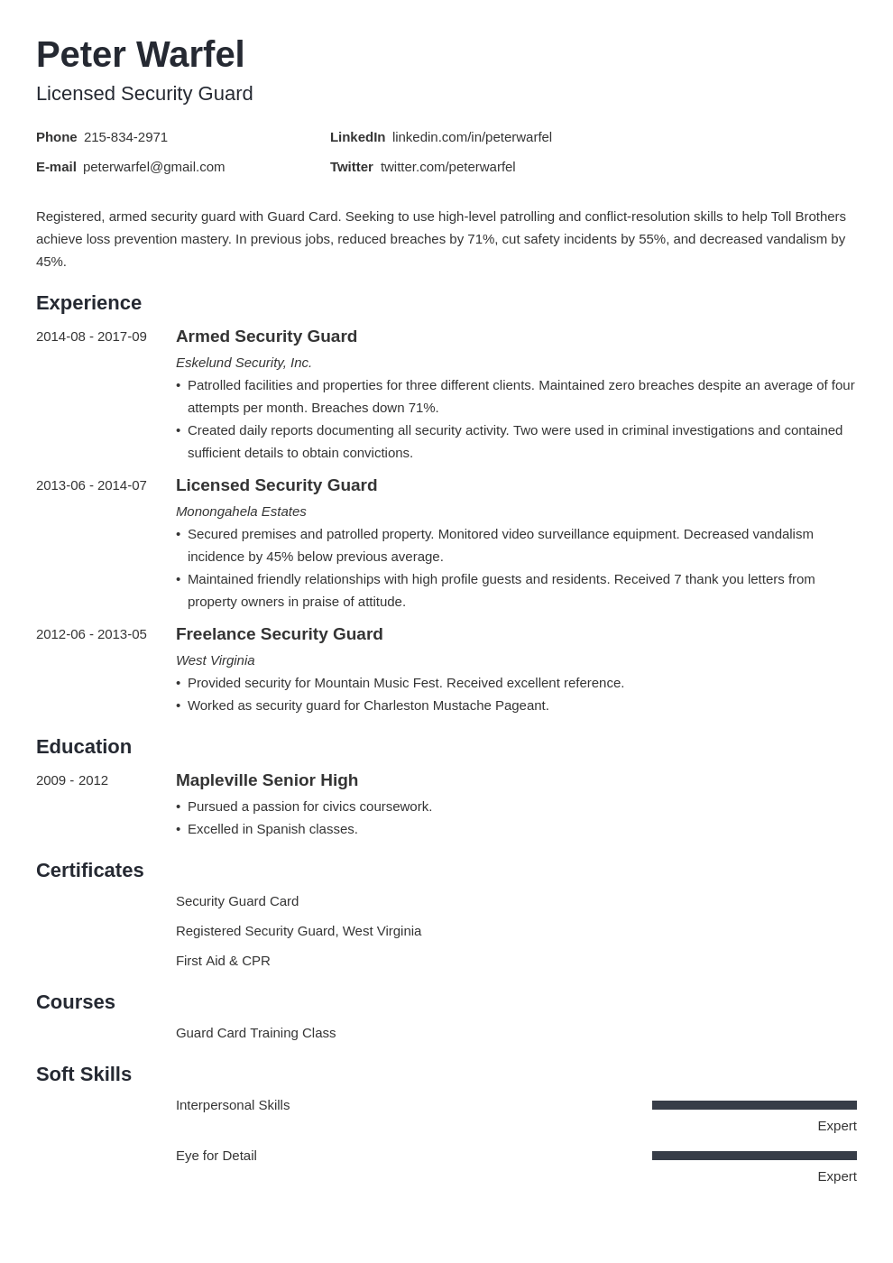 security guard resume example template minimo