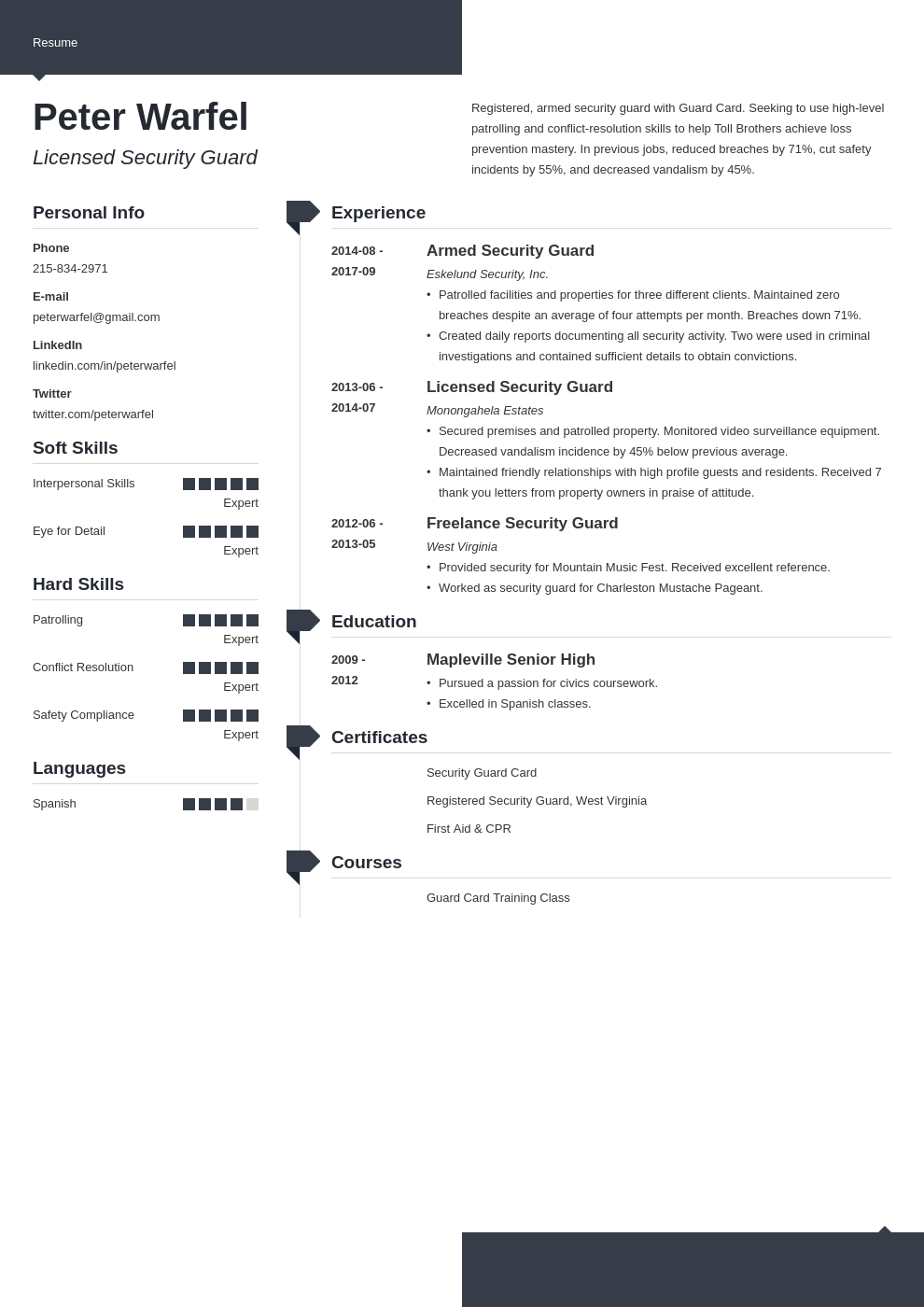 security guard resume example template modern