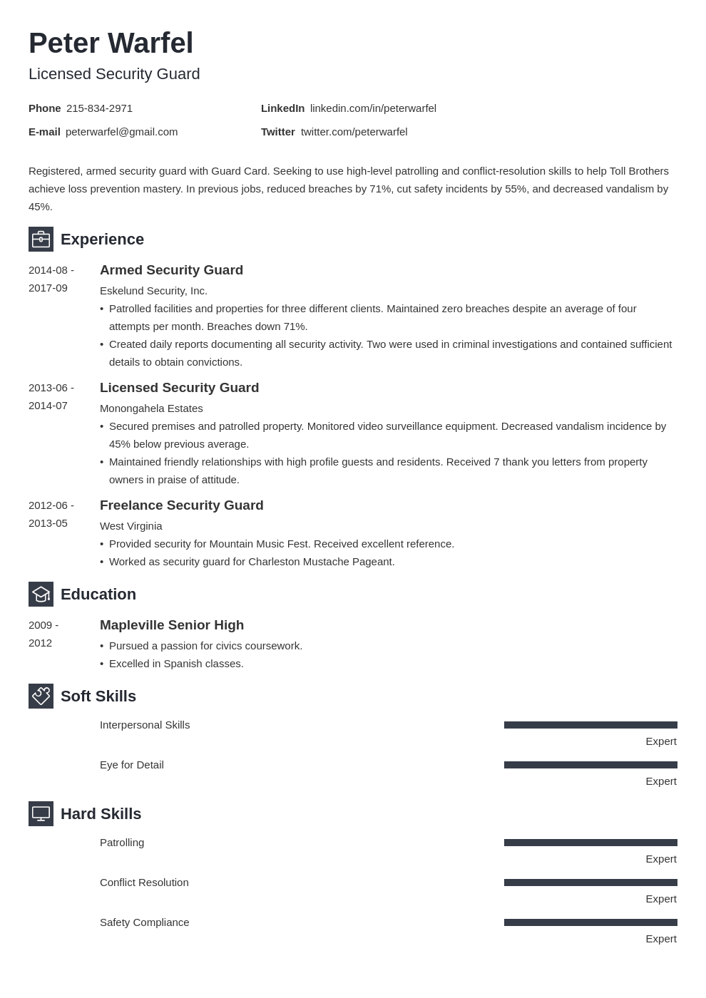 security guard resume example template newcast