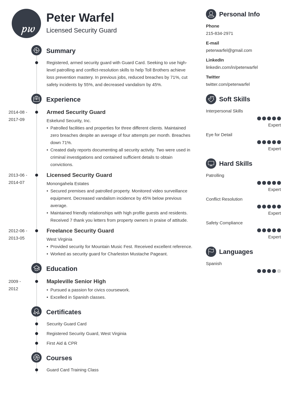 security guard resume example template primo