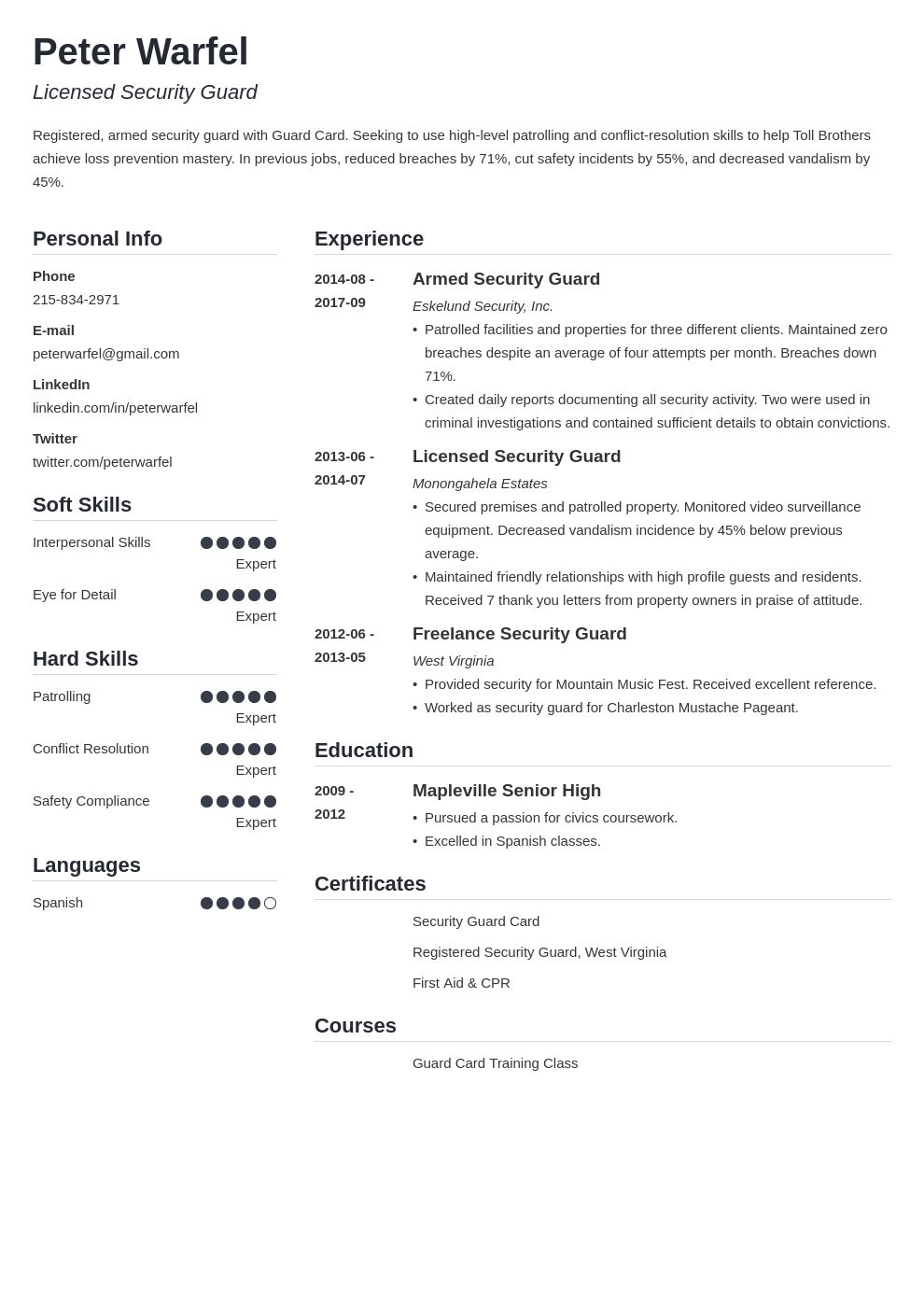 security guard resume example template simple