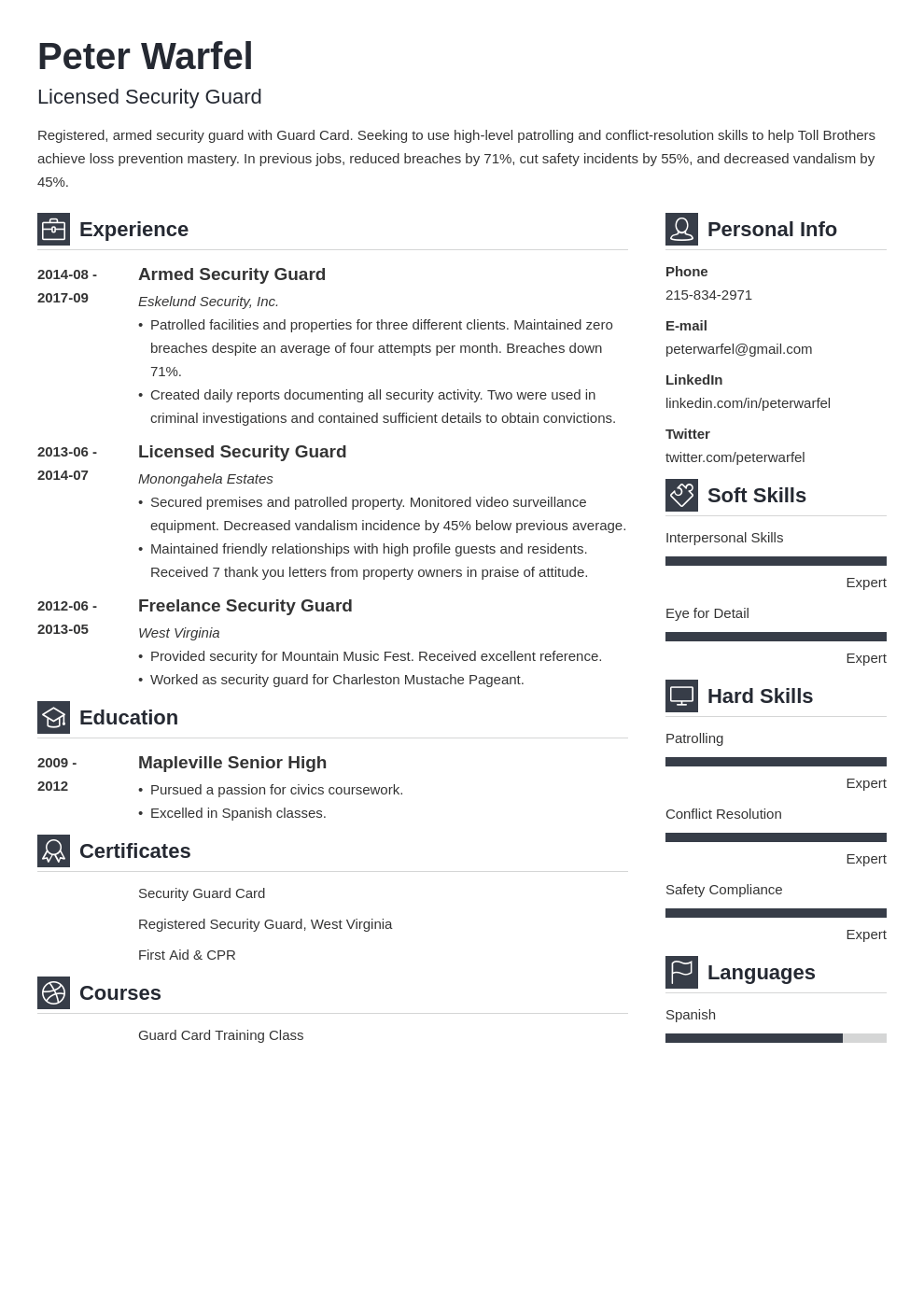 security guard resume example template vibes