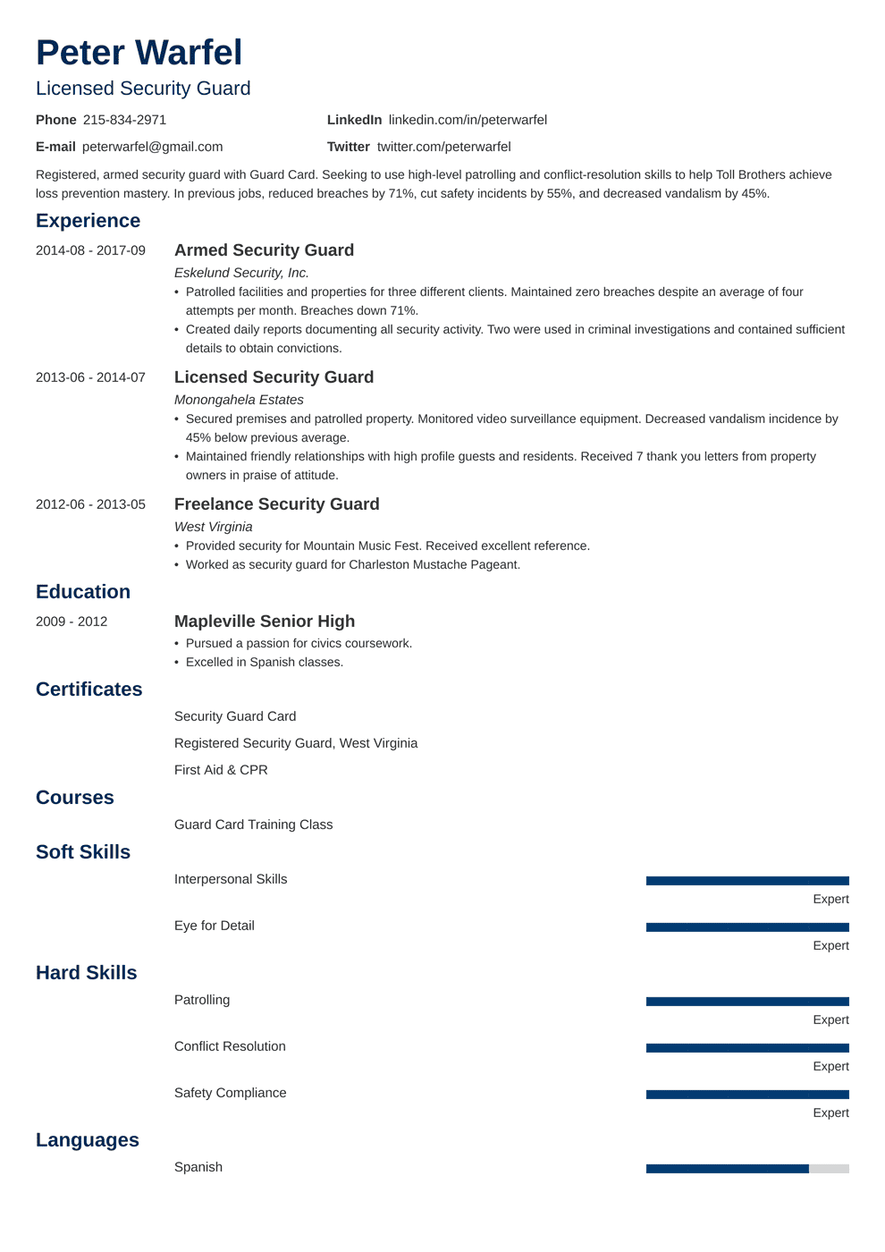 Security Guard Resume & Examples of Job Descriptions